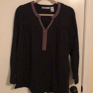 Black knit top with pretty thread trim